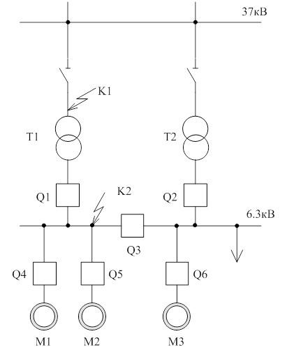 Схема подстанции:
