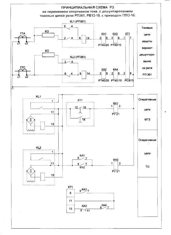 токовых цепей реле РП-361,